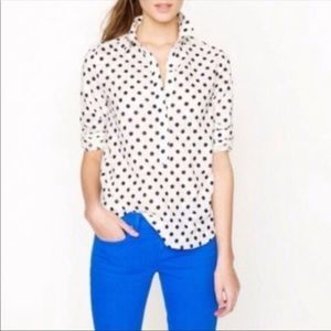 J.Crew jacquard dot popover shirt blue cream 8